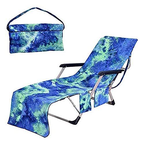 WHCL Funda para Silla de Playa, Funda de Toalla para sillón con Bolsillos Laterales, Funda para Tumbona para Piscina, Tomar el Sol, jardín, Playa y Hotel,Azul