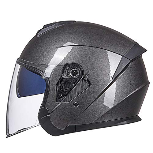 Motorcycle Half Helmet Open Face 3/4 Helmet with Flip Up Visor Motorbike Mofa Motorbike Moped Scooter Electric Scooter Riding Jet Helmet for Men and Women ECE DOT Approved F,XL