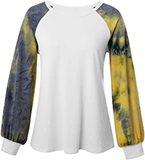 Miracle Women's Spring Colorful Long Sleeve Colorblock Print Tops Tie-Dye Tee