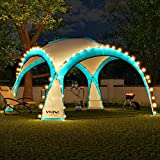 Swing & Harmonie LED Event Pavillon 3,6 x 3,6m DomeShelter Garten Pavillion inkl. Solarmodul Pavilion Designer Gartenzelt Camping Pavilon Partyzelt mit Beleuchtung (Türkis)