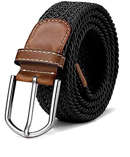 Ducomi Sails Cintura Elastica Unisex in Corda Intrecciata con Dettagli in Cuoio e Fibbia Classica - Lunghezza da 100 a 130 cm - Idea Regalo (Black)