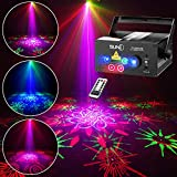 SUNY 128 RGB Patterns Stage Laser Light, Sound Activated DJ Party Light Multiple Gobos Laser Projector for Xmas Gift Bars Clubs Dance Light Show
