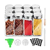 12 Pcs Glass Spice Jars 4oz, Glass Spice Jars PE Foam Gasket Good Gas Tightness with Water Base Led Ink Brush Funnel and 36 Labels,Cleaning Brush