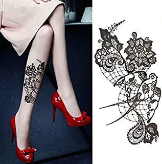 1pcs Watercolor Cool Henna Rose Flowers Temporary Body Tattoo Beautiful Shoulder Thigh Back Body Decor Lace Owl Women Body Paint (Color : XQB002)