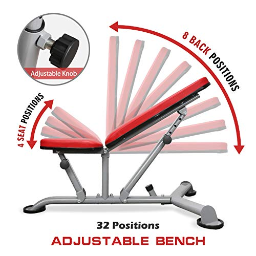 ER KANG Adjustable Weight Bench- 8+3 Positions Body Workout Bench, Multi-Purpose Incline/Flat Bench for Home Gym Fitness Strength Training (Red)