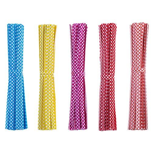 500 Stück Kunststoffbindestreifen Torsionriegel Twist Tie Draht 4 Zoll mit Punkte für CellophanPartyTasche, Mischfarbig
