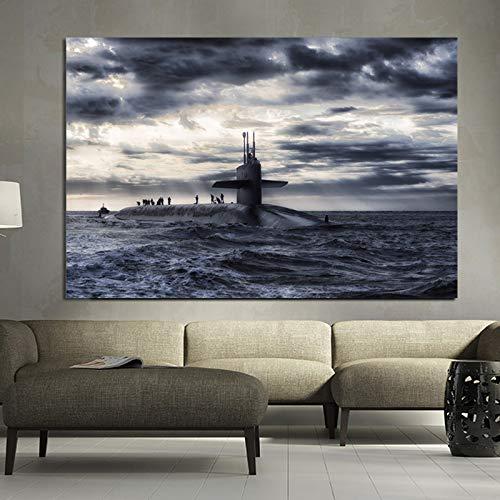 zgldx73 Plakatdruck U-Boot Schiff Ozean Ozean Wolken Leinwand Malerei Hauptdekoration Wandkunst Malerei50x75cm