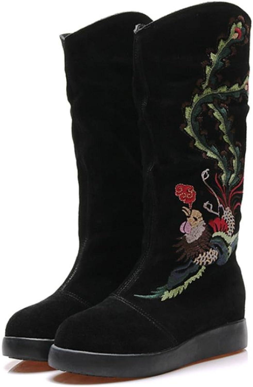 Best 4U Damenschuhe Wildleder Winter Herbst Stiefel Flache Ferse Runde Zehe Slouch Stiefel Stickerei Schwarz Blaumenmuster