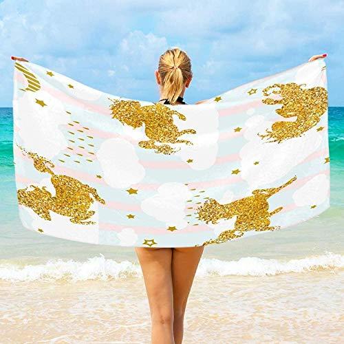 Toalla De Playa Microfibra,Parche Colorido Unicorn Gold Glitter Altamente Absorbente Compacto Ligero Y De Secado Rápido Toalla De Playa/Deportivas para Viajes,Gimnasio,Acampar,Nadar,Yoga,Natación,B
