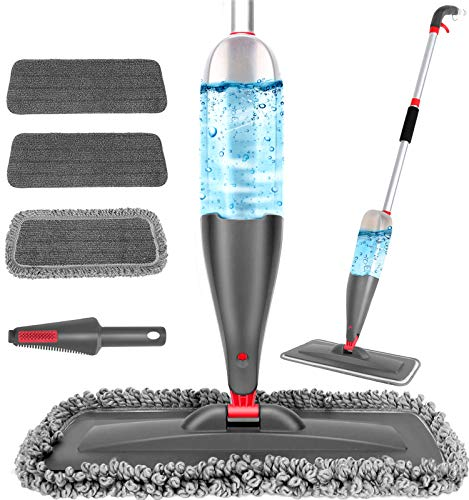Spray Mop for Floor Cleaning with 3pcs Washable Pads - Wet Dry Microfiber Mop with 800 ml Refillable Bottle for Kitchen Wood Floor Hardwood Laminate Ceramic Tiles Floor Dust Cleaning