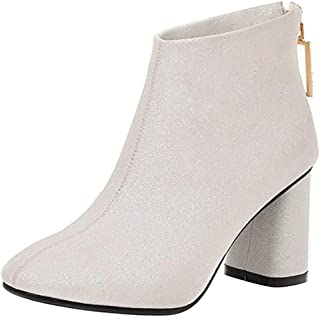 Zanpa Women Elegant Boots Ankle High Block High Heels