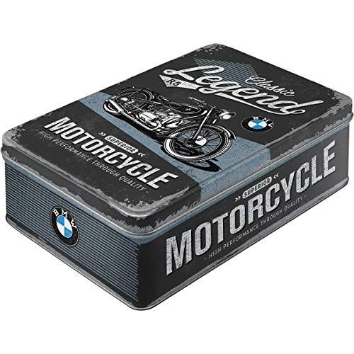 Nostalgic-Art 30747 - BMW - Classic Legend , Vorratsdose Flach , Keks-Dose , Aufbewahrungs-Box , Metall, mit Scharnierdeckel