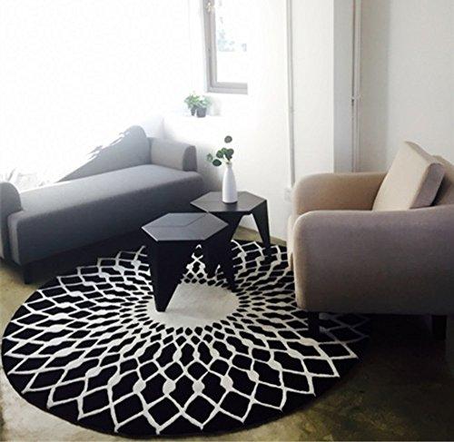 LI LU SHOP stijlvolle zwart-wit ronde woonkamer salontafel grote tapijt (Maat: 100CM)