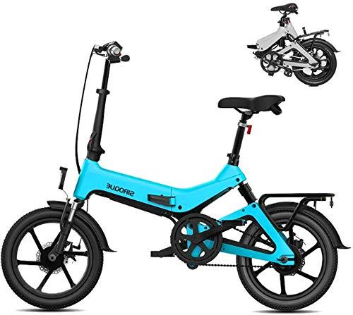 Bicicleta eléctrica de nieve, Bicicletas eléctricas for los adultos, 16' Peso ligero plegable E bicicletas, 250W 36V 7.8Ah batería de litio extraíble, Ciudad de bicicletas Velocidad máxima 25 KM / H c