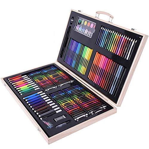 ZBQLKM Conjunto de Arte de Lujo de 180 Piezas, Artículos de Arte de Arte en Caja de Madera, Dibujo de Pintura, Suministros de Arte en Caja de Madera para niños Adultos Adultos