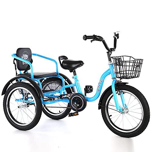 RSTJ-Sjef Triciclo para Niños, Bicicleta De Crucero De Una Sola Velocidad De 16 Pulgadas para Niños De 3 A 12 Años, Triciclos con Cesta De La Compra Y Asiento Trasero, Niños,Azul