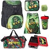 Familando Set di 7 zaini per la scuola, con motivo Lego Ninjago e astuccio per matite, sacca da palestra, bottiglia d'acqua e grande borsa sportiva, colore: verde