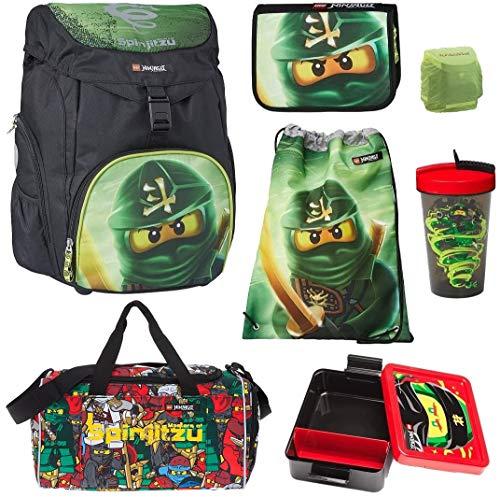 Familando Lloyd - Juego de mochila y accesorios escolares (7 piezas), diseño de Lego Ninjago Outbag, bolsa de deporte, lata, botella y bolsa de deporte grande, color verde