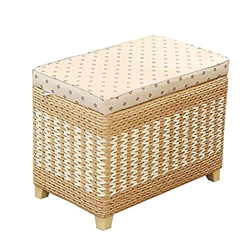 APXZC Cattail Stool, Household Storage Sitting Stool, Hand-Woven Natural Material Large Space Soft Cushion Removable Design Solid Wood Feet, for Home Shop Cafe