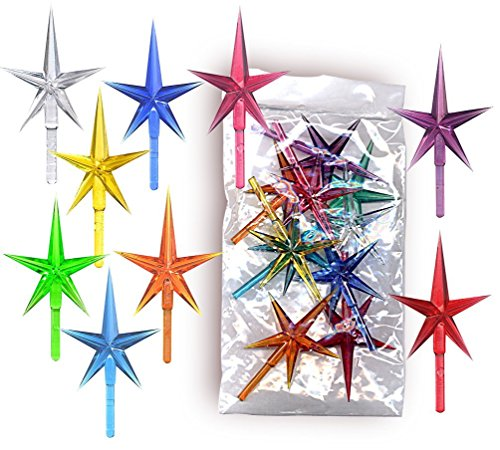 Stars plastic medium for the top of the ceramic Christmas tree 10 pack