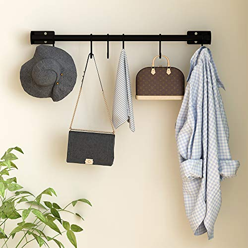 Wall Mounted Kitchen Hooks with 8 Removable S Hooks for Hanging Pot Pan Spoon, 24