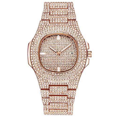 JunMei Reloj Bling de Lujo para Hombre, Reloj de Diamantes de imitación con Diamantes de imitación con Diamantes de Diamante de Hip Hop - Movimiento de Cuarzo
