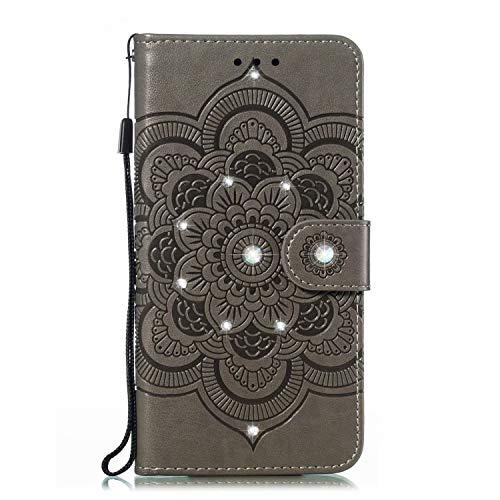 Handyhülle Kompatibel mit Samsung Galaxy Note 20 Hülle Glitzer Diamant Flip Case Tasche Magnetisch Handytasche Kartenfächer Ständer Schutzhülle Handyschale für Samsung Galaxy Note 20 grau
