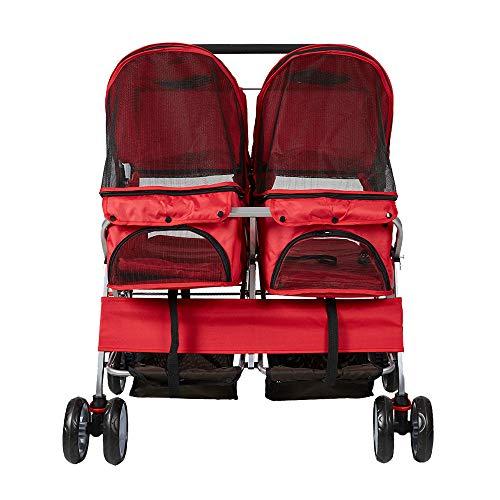 Pet Stroller Twin Folding Dog Cat Carrier Travel Cart, Multiple Colors