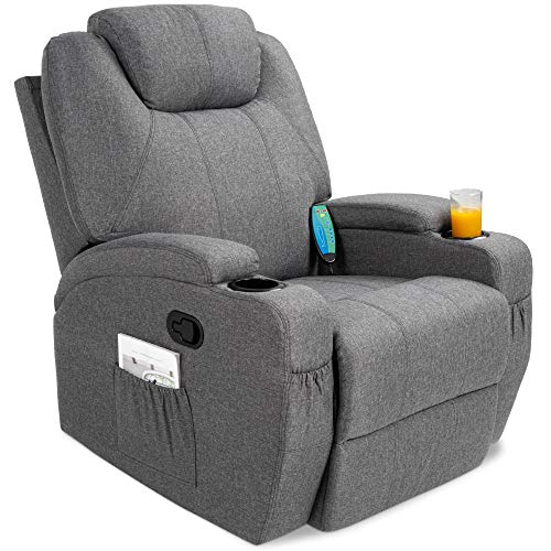 Best Choice Products Executive Linen Fabric Swivel Electric Massage Recliner Chair w/Remote Control, 5 Heat & Vibration Modes, 2 Cup Holders, 4 Pockets - Gray