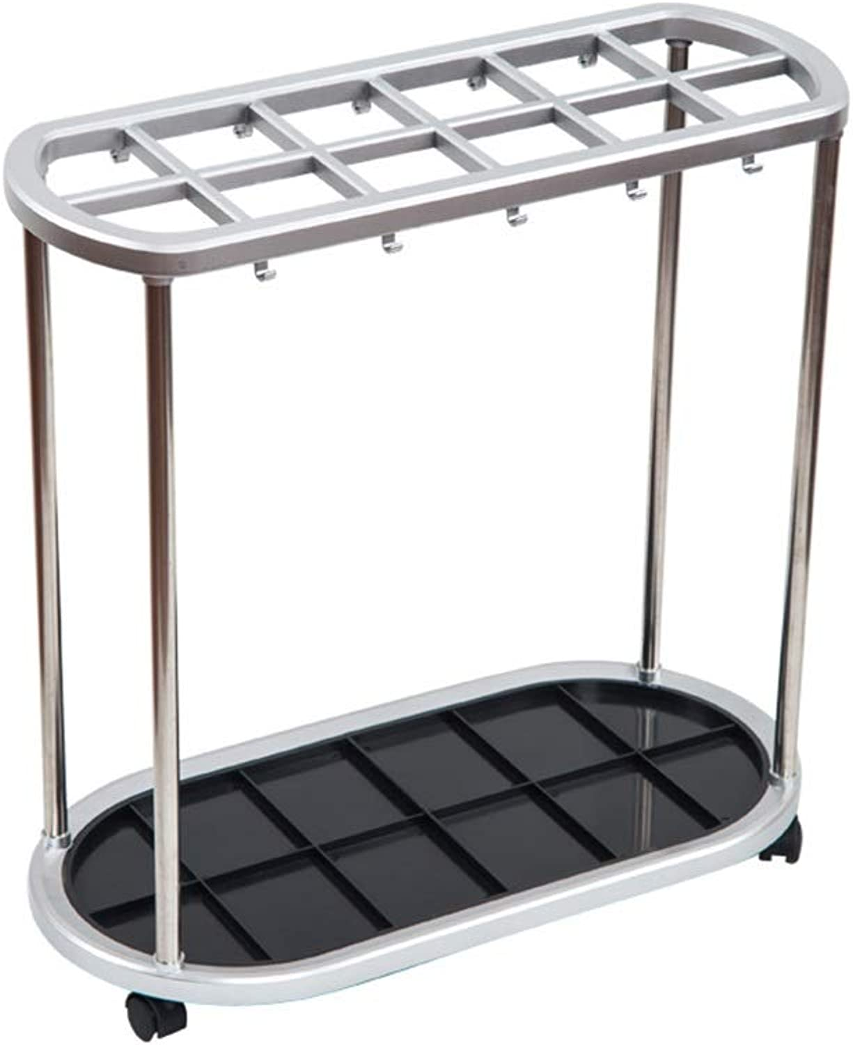 NNXD Umbrella Stand, Mobile Storage Rack 6 Holes 12 Holes 21 Holes for Commercial Hotel Lobby (Size   56X28X55CM)