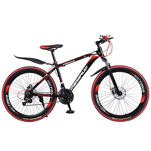 KUKU Mountain Bike 26 Inch, 21-Speed High Carbon Steel Mountain Bike, Full Suspension Mountain Bike, Outdoor Bike, Suitable for Sports And Cycling Enthusiasts,Black red