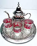 kenta artesanias Juego de marroquí : 3 Vasos de 10 cm + Bandeja 30 cm repujada + Tetera Grande