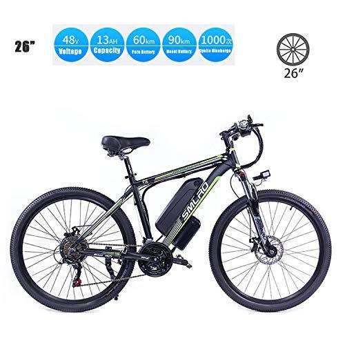 YMhome Bicicleta eléctrica, 26' Electric City E-Bici Bicicleta con 350W sin escobillas del Motor Trasero para Adultos, 36V / 13Ah batería extraíble de Litio,Black Green