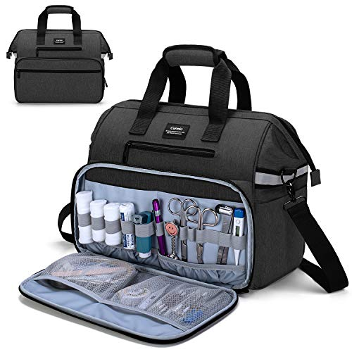 CURMIO Home Health Nurse Bag, Medical Supplies Bag with Padded Laptop Sleeve for Home Visits, Health Care, Hospice, Bag ONLY, Black