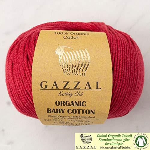 5 Ball (Pack) Gazzal Organic Baby Cotton Yarn, Total 8.8 Oz. 100% Organic Cotton, Each 1.76 Oz (50g) / 125 Yrds (115 m), 3 Light DK, Dark Red - 429