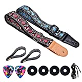 Guitar Strap, Cotton Leather Embroidered Vintage Woven With Guitar Strap Locks And Strap Button For Bass Electric Acoustic Guitars