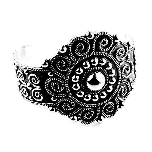 Calani Armreif aus 925er Silber im Antik-Look, Barock mit Kugeln und Spiralen, hergestellt in Taxco, Mexiko. Gewicht: 39.50g