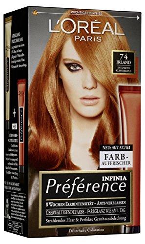 L'Oréal Paris Préférence Coloration Kupferblond 7.4, 3er Pack (3 x 1 Colorationsset)