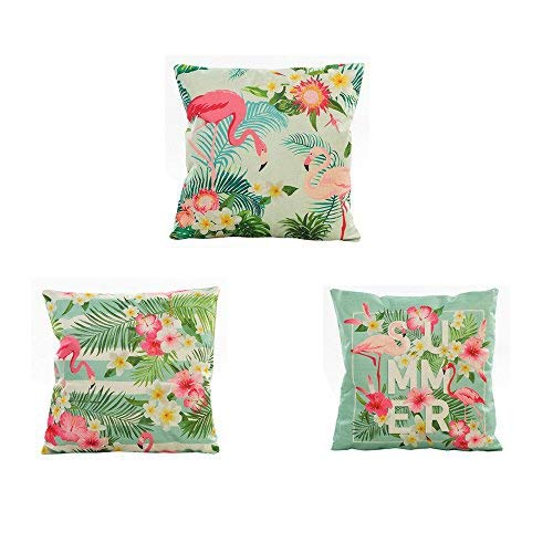 Fossrn 3PC/Conjunto Fundas Cojines 45x45 Tropical Flor Hojas Funda de Cojines para Sofa Jardin Cama Decorativo (01) (02)