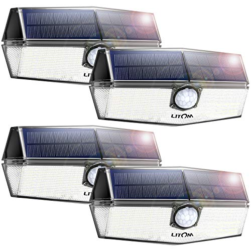 LITOM 120 LED Solar Lights Outdoor, upgraded Solar Panel with 3 Optional Modes and 270°Wide Angle,...