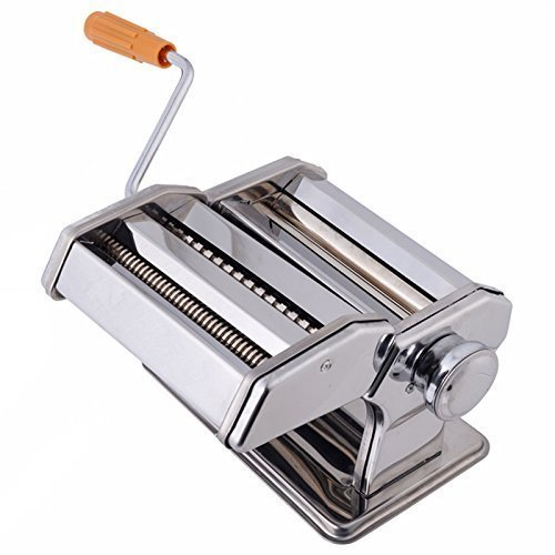 Harivar Mart 3 in 1 Stainless Steel Pasta Maker Noodle Making Dough Roller Cutter Machine Hand Crank and Clamp for Spaghetti and Lasagna Tagliatelle Fettuccine