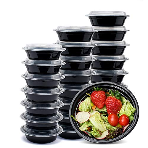 Glotoch 50 Pack, 24 OZ Round Single Compartment Plastic Food Storage Containers Set with Lids - Microwave, Freezer & Dishwasher Safe - Eco-Friendly, BPA-Free, Reusable & Stackable