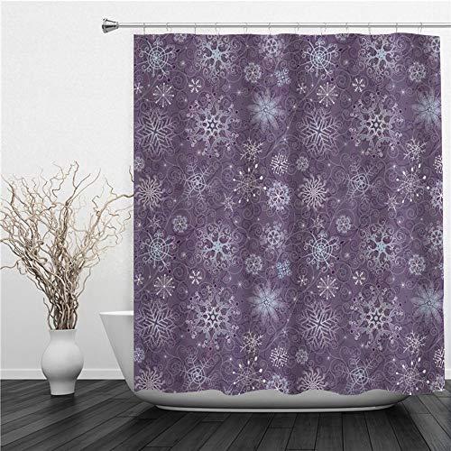SUHETI Duschvorhang,Auberginen Weihnachten inspirierte Blumen Schneeflocken & Wirbel in Einer violetten zarten Umgebung,Duschvorhang Wasserabweisend-Duschvorhangringen 12 Shower Curtain mit