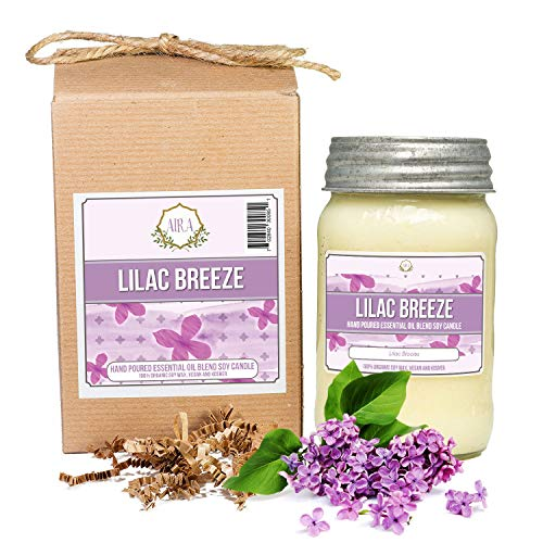 Aira Soy Candles - Organic, Kosher, Vegan, in Mason Jar w/ Therapeutic Grade Essential Oils - Hand-Poured 100% Soy Candle Wax - Paraffin Free Burns 110+ Hours - Spring Candle Lilac Breeze - 16 Ounces
