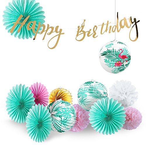 Easy Joy Sommer Party Tropische Blätter Laterne Mint Geburtstag Dekoration Gold Happy Birthday Girlande Sommerparty Mottoparty (13er Set)