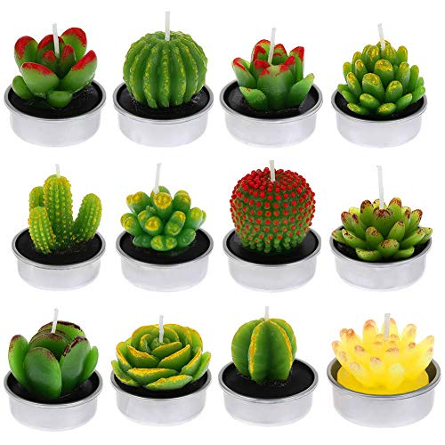 FANTESI 12 Pcs Cactus Candles, Handmade Cactus Succulent Cactus Tealight for Spa Home Party Wedding Decoration Gifts(Style 1)