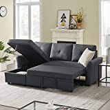 83inch Reversible Sleeper Sectional Sofa with Storage - Contemporary Corner Sectional with Pull-Out Sleeper and Chaise,3 Seat Sectional Sofa with Storage