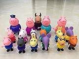 New Brand 17 Pcs/Set Cute Peppa Pig Figures 17 Cartoon Heroes Kids