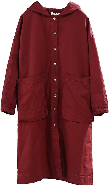 Women's Jacket, Ladies Casual Windbreaker Jacket SingleBreasted Large Pocket Hooded Windbreaker Female Literary Loose Large Size Long Casual Jacket