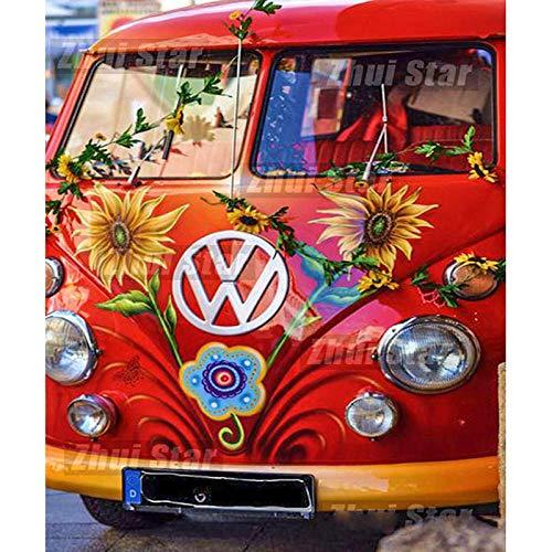 Pintura diamante bricolaje 5D diamante lleno redondo flor del coche del diamante 45x50cm artículos de decoración de mosaico para la decoración de la pared del hogar